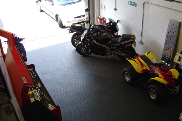 Motorcycle garage flooring